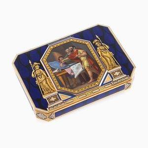 Antike Schweizer Schnaps Schachtel in Gold & Emaille von Lamy & Cie Rémond, 1800er