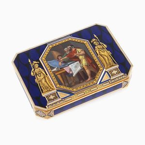 Antique Swiss 18k Gold & Enamel Snuff Box by Lamy & Cie Rémond, 1800s