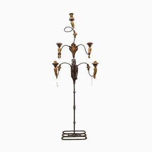 Großer Standing Kerzenhalter mit 5 Leuchten aus Geschnitztem Eisen und Holzschnitzereien, 1950er