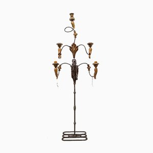 Large Standing Candleholder with 5 Lights in Forged Iron and Wood Carving, 1950s
