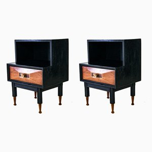 Mid-Century Rosewood Nightstands with Inlaid Marquetry, 1960s, Set of 2