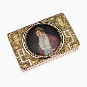 Antique Swiss 18k Gold & Enamel Snuff Box with Miniature, 1810s