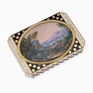 Antike Schweizer Schnaps Schachtel mit 18 Karat Gold & Emaille von Francois Joanin, 19. Jahrhundert
