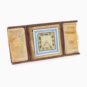 Horloge de Bureau Vintage en Plaqué Argent et Email par Cartier, 1945