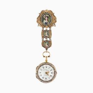 Antike Schweizer 18 Karat Gold- & Emaille-Förmchen Uhr mit offenen Kanten, 1770er