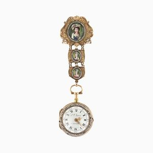 Antique Swiss 18k Gold & Enamel Diamond Open-Faced Verge Watch, 1770s