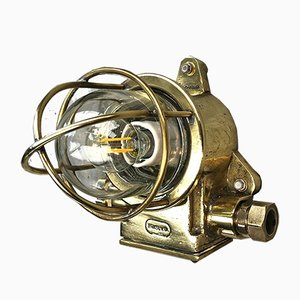 Small Vintage Industrial British Brass Bulkhead Sconce from Brasuk