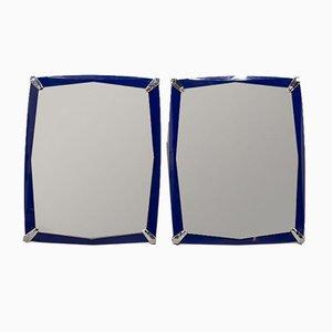 Blaue Spiegel, 1970er, 2er Set