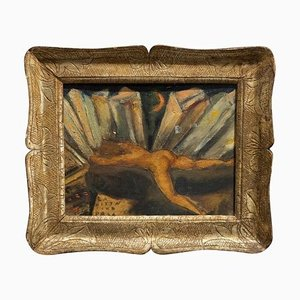 Italian Futurist Framed Oil on Plywood, 1920s