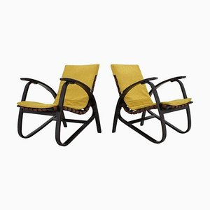 Czech Bentwood Lounge Armchairs by Jan Vanek, 1940s, Set of 2