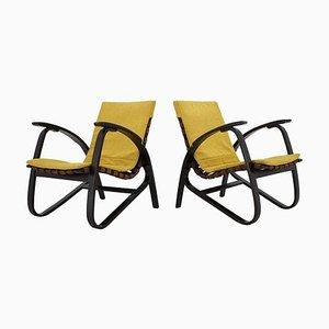 Czech Bentwood Lounge Armchairs by Jan Vanek, 1940s, Set of 2