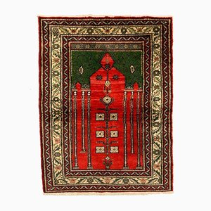 Small Turkish Red and Green Distressed Wool Tribal Rug, 1960s