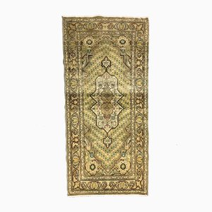 Turkish Green and Beige Distressed Wool Runner Rug, 1970s
