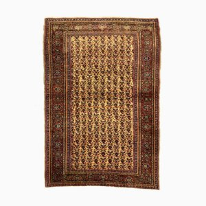 Turkish Red and Beige Distressed Wool Tribal Rug, 1940s