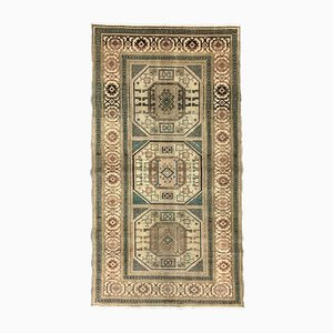 Turkish Blue and Beige Distressed Wool Runner Rug, 1970s