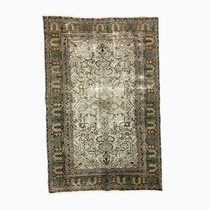 Turkish Brown and Beige Distressed Wool Tribal Rug, 1960s