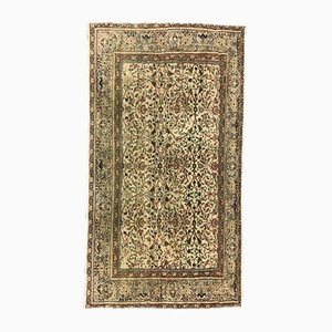 Türkischer Tribal Teppich aus brauner & beiger Distressed Wolle, 1950er