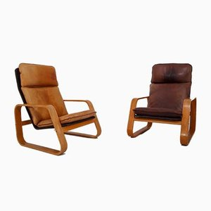 French Patinated Leather and Bentwood Lounge Chairs, 1970s, Set of 3