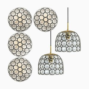 Circle Iron and Bubble Glass Sconce by Glashütte Limburg, 1960s