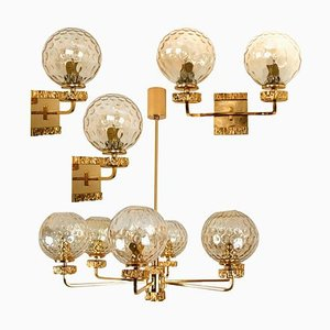 Italian Gold-Plated Blown Glass Light Fixtures in the Style of Brotto, 1970s, Set of 4