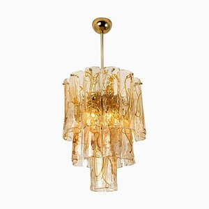 Brass Clear and Amber Spiral Glass Chandelier by Doria for Mazzega, 1970s