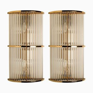 Art Deco Glass Rod Sconces in the Style of the Sciolari, 1960s, Set of 2
