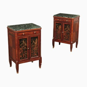 Italian Nightstands with Decorative Tiles, Set of 2