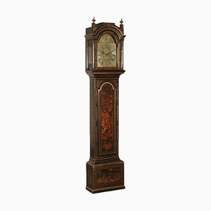 Lacquered Polychrome Chinoiserie Column Clock from Samuel Smith London