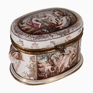 Italienische vintage Capodimonte Schmucktruhe aus Porzellan