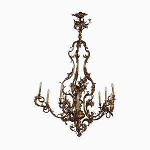 Lámpara de araña italiana antigua de bronce