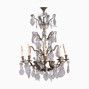 Lámpara de araña italiana de bronce y vidrio de 12 luces