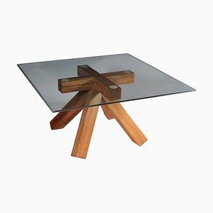 Tavolo da pranzo vintage in legno e vetro di Mario Bellini per Cassina