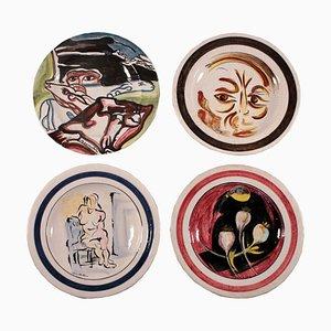 Platos italianos vintage de arenisca de G.Rossicone Manufacture. Juego de 4