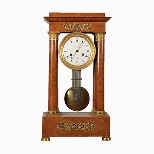 19th Century French Elm Burl Veneer Portico Clock from Gaston Jolly à Paris