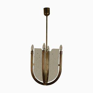 Lámpara de techo italiana vintage estilo Guglielmo Ulrich, años 50