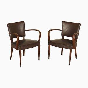 Italienische Vintage Sessel aus Buche & Kunstleder, 1940er, 2er Set