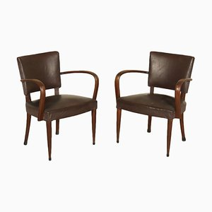 Vintage Italian Beech and Leatherette Armchairs, 1940s, Set of 2