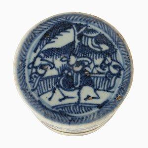 Blaublaue chinesische Porzellanbox aus Porzellan mit Deckel, 19. Jh