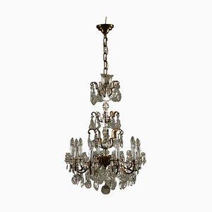 Lámpara de araña italiana vintage de cristal con 10 brazos
