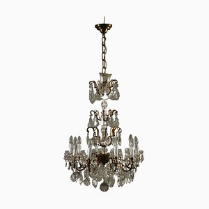 Vintage Italian Glass Crystal 10-Arm Chandelier