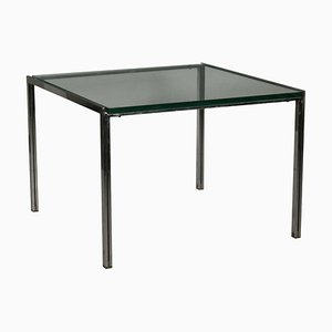 Vintage Italian Chromed Metal Glass Coffee Table