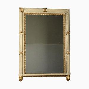 Italienischer Lackierter Vergoldeter Kaminsims Spiegel, 19. Jh
