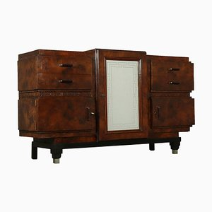 Vintage Italian Burl Veneer and Glass Cabinet, 1920s