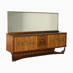 Vintage Italian Burl Veneer Buffet with Mirror