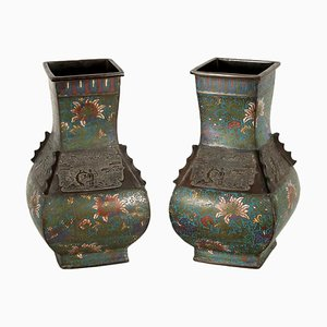 19th Century Japanese Cloisonne Vases, Set of 2