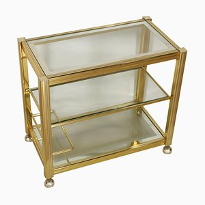 Vintage Italian Brass and Glass Service Cart, 1980s
