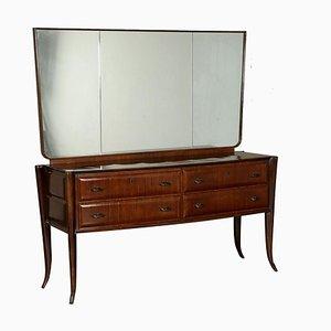 Cajonera italiana vintage de palisandro con espejo, años 50