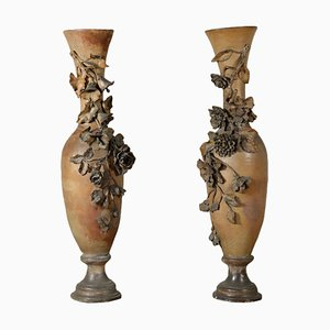 Large Antique Italian Liberty Amphorae, 1900s, Set of 2