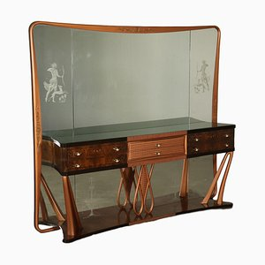 Bufet italiano vintage de madera nudosa de palisandro con espejo, años 40