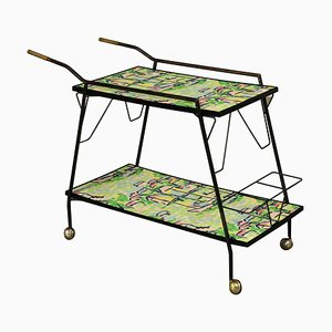 Vintage Italian Decorated Formica Service Cart, 1960s